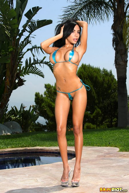 Lela Star in a Tiny Turquoise Teardrop Bikini