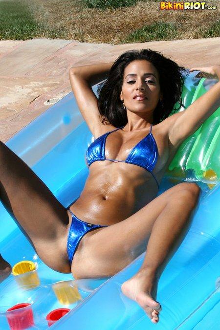 rita g shiny micro string bikini